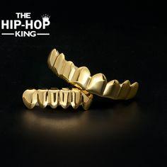 Gold Finish Grills Set Eight 8 Top Teeth & Six 6 Bottom Tooth Plain Hip Hop Grills New High Quality Christmas Halloween Gift