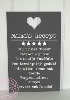 Recept 59 x 39 cm Dutch Words, Motivational Quotes, Inspirational Quotes, Family Presents, Dutch Quotes, Disney Coloring Pages, Food Quotes, Fathers Day Crafts, Family Quotes