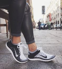 Nike Flyknits in black and white.