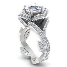 A Museum Perfect 2.6CT Russian Lab Diamond Engagement Promise Wedding Floral Ring