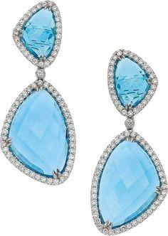 Eli Frei Topaz, Diamond and White Gold Earrings.