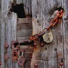 An attempt to securely lock rugged barn board entrance.... :)