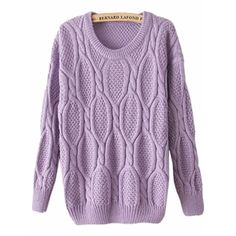 Purple Long Sleeve Mohair Cable Knit Sweater | pariscoming
