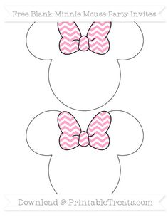 Carnation Pink Chevron  Blank Minnie Mouse Party Invites