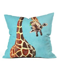 Giraffe With Green Leaf Fleece Throw Pillow #zulily #zulilyfinds