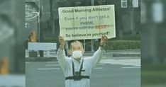 This man stands outside the Tokyo Olympic Village every day to motivate athletes Importance Of Mental Health, Olympic Village, Muscle Memory, Olympic Athletes, Floor Workouts, Inspirational Signs, Tokyo Olympics, Instagram Handle, Japanese Men