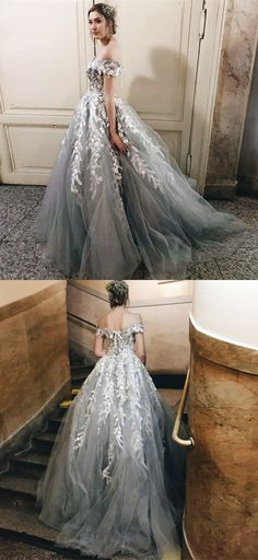 A-Line Off the Shoulder Sweep Train Grey Prom Dress with Appliques, glamorous grey off the shoulder prom dresses, unique lace up evening gowns with appliques #offtheshoulder