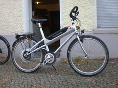 Mercedes electric bike that made it to production back in the early 2000's. Mercedes took the effort to build this bike as a rare purpose built electric bike, It was a complete financial flop, with very few of these electric bikes ever being sold. This bike had a removable nickel metal hydride pack built into the down tube that was as heavy as sin. This bike had a very limited range, was heavy and handled sluggishly.