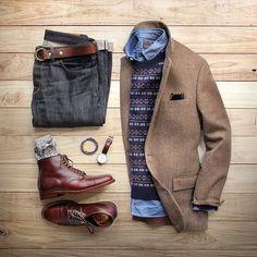 @thepacman82 on Instagram | Getting in the holiday spirit. Boots: @brickmortarseattle Alden Straight Tip Boot Sweater/Chambray Shirt: @grayers Denim: @shockoe_atelier Slim Como Socks: @mrgraysocks x @toddsnyderny Blazer: @jcrew Belt: @toddsnyderny Double Ring Belt Watch: @danielwellington Bracelet: @miansai