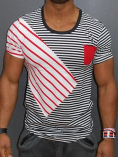 K&B Men Ripped 2 Holes Stripes T-shirt Pocket - Black White Red Casual Wear, Casual Outfits, Men Casual, Fashion Outfits, Casual Clothes, Fashion Ideas, Womens Fashion, Underground Clothing, Mens Polo T Shirts