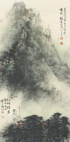 Li Xiongcai (1910-2002), Lu Yanshao (1909-1993) RECLUSE OF THE PINE FOREST signed Xiongcai, dated september, 1990, with two seals, xiong cai, duan zhou li shi; signed Yanshao, dated gengwu (1990), the ninth lunar month, with two seals, lu yan shao, ming jun ink and color on paper, mounted for framing 67.5 by 34 cm. 26 1/2  by 13 3/8  in.  黎雄才、陸儼少 松林獨出 款識: (黎)一九九零年九月寫於廣州,雄才時年八十又二。 (陸)松林獨出。庚午(1990)九月,儼少補作。 鈐印: (黎)雄才、端州黎氏 (陸)陸儼少、宛若   設色紙本 鏡片 67.5 X 34 釐米