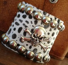 white black animal print LEATHER CUFF bracelet with skull & crossbones by whackytacky, $45.00