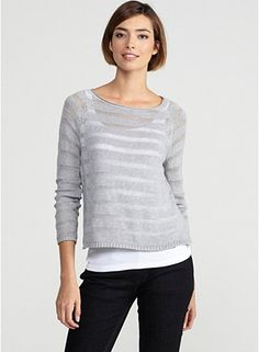 Eileen Fisher  -  Petite Bateau Neck Box-Top in Organic Cotton Sheer Stripe