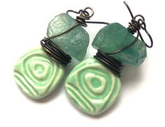 ON SALE Rustic Refined Unusual Earrings, Green Natural Stone Earrings, Earthy Boho Earrings, Bohemian Ceramic Jewelry, Niobium Earrings