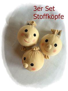 3er Set Puppenkopf Stoffkopf Engelgesicht von Die Geschenkidee auf DaWanda.com