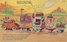 Vintage travel trailer comic linen postcard