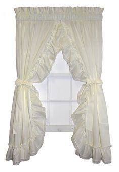 Madelyn Victorian Ruffled Priscilla Window Curtains with Lace Edging and Bow Tie Backs - Window Toppers Ruffle Curtains, Window Curtains, Priscilla Curtains, Window Toppers, Curtain Styles, Tie Backs, Victorian Fashion, Color Combinations, Bows