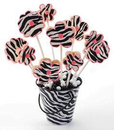 Zebra Flower Cookies