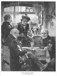 Studentika O Alte Burschenherrlichkeit Original Holzstich VON 1905 | eBay