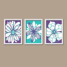 Purple Turquoise Flower Wall Art Nursery Canvas Girl Artwork Dahlia Flouish Floral Set of 3 Prints Bedroom Bathroom Three on Etsy, $29.00