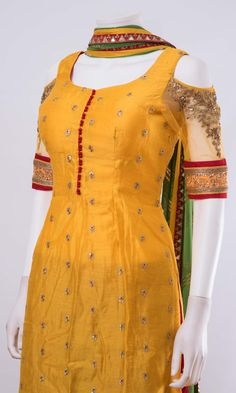 Salwar kameez ONLINE usa Silk brocade top with golden embroidery with matching bottom and dupattaProduct InformationColor : yellow,redFabric : silk,georgetteOccasion : party Fully stitched full flare plazzo dress - top, bottom and dupatta Note: Color Salwar Neck Designs, Churidar Designs, Kurta Neck Design, Neck Designs For Suits, Kurta Designs Women, Dress Neck Designs, Designs For Dresses, Blouse Designs, Chudidhar Neck Designs