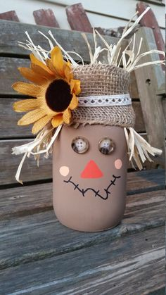 Scarecrow Mason Jar by CraftySouthernCharms on Etsy https://www.etsy.com/listing/460939465/scarecrow-mason-jar