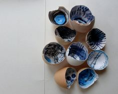 Out of the Blue, altered egg shells by Ines Seidel