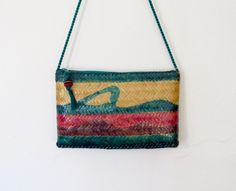 #Vintage Waves Tropical / Boho Woven Straw Crossbody Purse / Painted Shoulder Bag by VelouriaVintage on Etsy