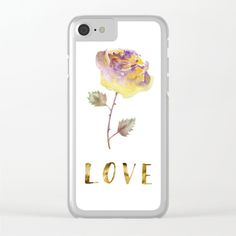 Golden Rose Clear iPhone Case Delicate rose hand-drawn in watercolors wet on wet technique with hand written LOVE in gold, calligraphic style, for romantic souls. Hardcover Journals Tags valentines day valentines card expressing love affection aquarelle watercolors hand painted hand written original artwork best gift words calligraphy simple effective purple and yellow elegant delicate stylish trendy