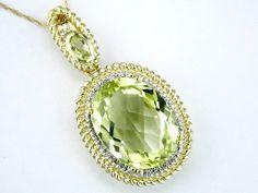 Ladies Diamond & Green Amethyst Necklace
