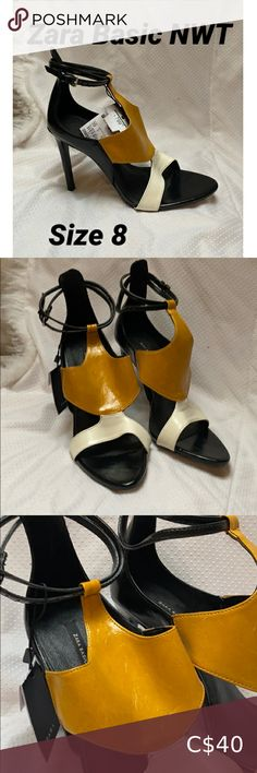 Zara Basic NWT Heels These gorgeous heels by Zara Basic are new with tags! Would be a great gift, size 8. Tag says $799 but I think that means kroner or a different currency. Online these appear to retail for $129. A mustard yellow and white patterned front. Plastic still on the sole. Zara Shoes Heels Blue Pumps, Black Suede Pumps, Suede Heels, Shoes Heels, Zara Heels, Strappy Heels, Plaid Heels, Sorel Boots, Gorgeous Heels