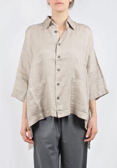 Eskandar Linen Button Down 3/4 Sleeve Shirt in Natural | Santa Fe Dry Goods