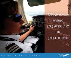 Necesitas información de cómo formarte como Piloto en Ecuador.  Estamos en #Quito y #Guayaquil de 9 am a 5 pm.   informes: info@skyecuador.com 04 600 8250 o ( 0969063172 solo mensajes WhatsApp ) www.skyecuador.com