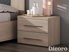 Mesitas de Noche Ibi Wood Bed Design, Bedroom Bed Design, Modern Bedroom, Funky Furniture, Bedroom Furniture, Furniture Design, Bedroom Decor, Dresser As Nightstand, Nightstands