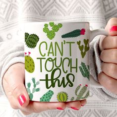 Cactus Mug  Funny Mug  Can't Touch This by LittleLoveliesStudio