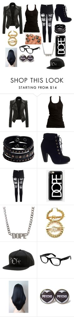 """""""KC UnderCover."""" by sarahbelleb ❤ liked on Polyvore featuring Dr. Denim, Replay, Bamboo, Glamorous, Casetify, Dope and Ray-Ban"""