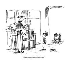 """""""Norman won't collaborate."""" - New Yorker Cartoon Poster Print by Robert Weber at the Condé Nast Collection"""