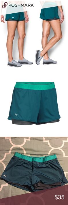 """Under Armour Heat Gear 2 in 1 Shorty Shorts Blue L Super-light HeatGear outer short with scalloped hem and pinhole mesh side panels. Allover pinhole mesh under short for ehanced coverage without sacrificing breathability. Signature Moisture Transport System wicks sweat to keep you dry & light. Foldover exposed elastic wasitband for versatile fit & styling. 3"""" inseam. * 90% Polyester/10% Elastane * Color is Marlin Blue Worn once in excellent condition! Size L from Under Armour 30731175 Under…"""