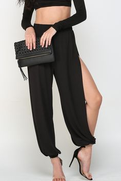 Side Slit Pants, American Fashion, Trouser Pants, Black Pants, Looks Great, Going Out, Jumpsuit, Crop Tops, Outfits
