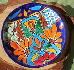 "Talavera Vintage Mexican Pottery Lunch Plate 8"" Hand Painted Lead Free CD 
