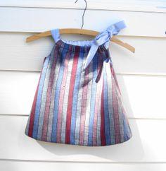Little girls reversible dress/jumper made from reclaimed Italian linen and 100% cotton - 2 dresses in 1.. $35.00, via Etsy.