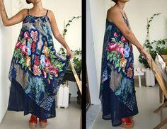 Tülbent ile askılı elbise. Dress with scarf... Kendim diktim.