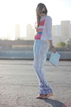 Love the pajama pants and mix of patterns