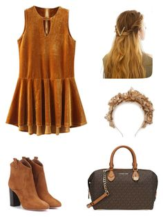 """Brown Hues"" by lucydanvers on Polyvore featuring Aquazzura, Michael Kors and WithChic"