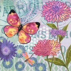 Butterfly Soiree PurpleFlower by Jennifer Brinley   Ruth Levison Design