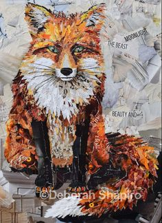 Fox collage made from bits of magazines. Limited edition prints available.