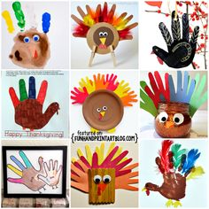 Turkeys made with Handprints