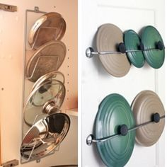 Use a magazine holder or a metal towel rail as a way of storing pot/pan lids. Great stuff!