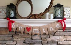 Be Mine Valentine Banner Valentine's Day by BurlapandTwineCo