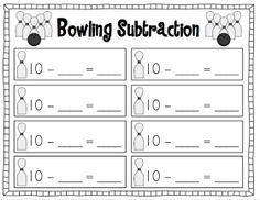 Subtraction bowling freebie recording sheet!